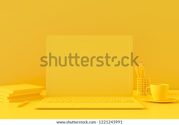 Minimal concept, Laptop on table Work desk yellow color and mock-up for your text with notebook cup coffee mouse sunglasses and clock. 3d render.