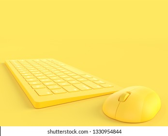 Minimal concept. Mouse beside keyboard yellow color on yellow background  and copy space for your text, 3D Render.