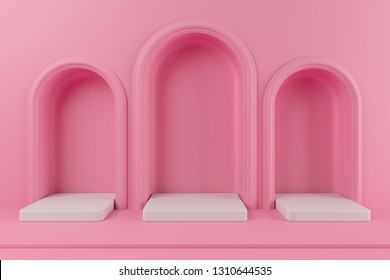 Minimal concept pink color podium and white color platform for product. 3d rendering.