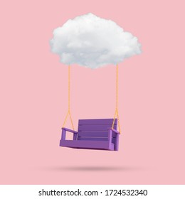 Minimal conceptual image of blue swing chair floating by the cloud on pink background. 3D rendering