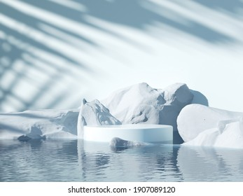 Minimal cool-tone background for product and cosmetic presentation. The white stone podium on the water in front of Sunshade shadow with a cold winter mood. realistic, render 3d  illustration.