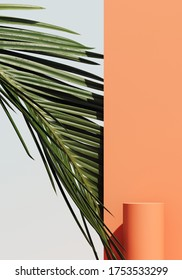 Minimal cosmetic background for product presentation. Cosmetic bottle podium and green palm leaf on coral color background. 3d render illustration. Object isolate clipping path included.