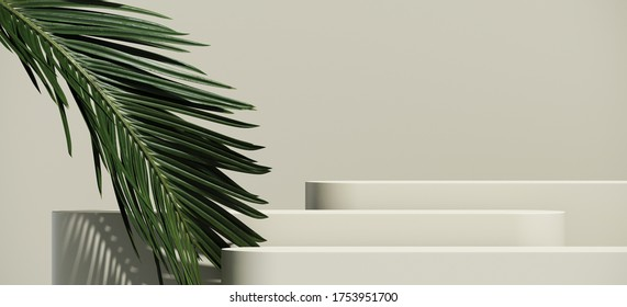 Minimal cosmetic background for product presentation. Cosmetic bottle podium and green palm leaf on grey color background. 3d render illustration. Object isolate clipping path included.