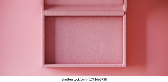 Minimal cosmetic background for product presentation. Pink fabric jewelry box on pink background. 3d render illustration. Clipping path of each element included.