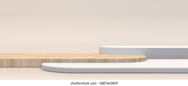 Minimal cosmetic background for product presentation. Off white and wood texture on a cream floor background, 3d rendering