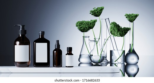 Minimal cosmetic composition for natural and organic concept. Cosmetic bottle on white marble podium. Green leaves in set of laboratory glassware on white background. 3d rendering illustration.
