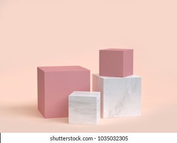 minimal cream background pink marble cube-box podium 3d rendering