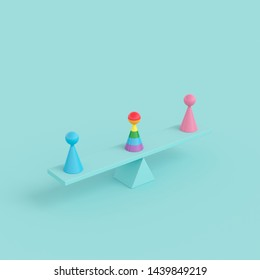 Minimal creative concept human symbol, outstanding rainbow color object with pink and blue color object on green seesaw on green background, 3d rendering