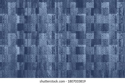 minimal denim textures  patchwork with abstract geometric memphis style patterns design for carpet, rug, scar, wall frame, for all fabric print