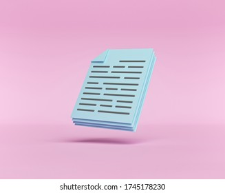 minimal Documents icon. Stack of paper sheets isolated on pastel pink background. 3d rendering