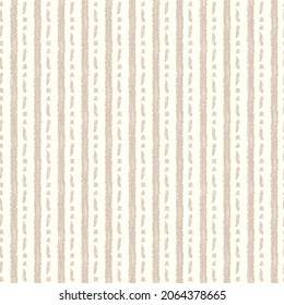 Minimal ecru jute plain vertical stripe texture pattern. Two tone washed out beach decor background. Modern rustic brown sand color design. Seamless striped distress shabby chic pattern.