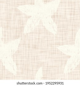 Minimal ecru jute star fish texture pattern. Two tone washed out beach decor background. Modern rustic brown sand color design. Seamless burlap seastar effect pattern for shabby chic coastal living.