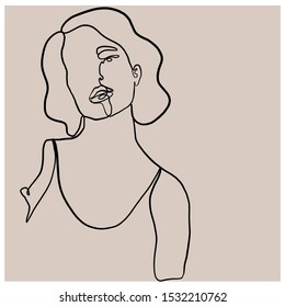 minimal face woman drawn by one continuous line. Trendy graphic style.