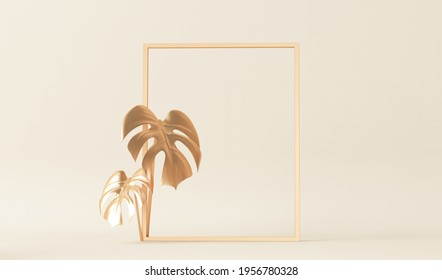 Minimal fashion background arch tunnel corridor portal perspective pastel colors and tropical palms, monster leaves. Trendy 3d render for social media banners, promotion, cosmetic or product
