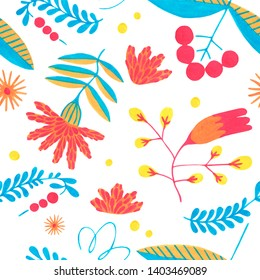 Minimal floral pattern. Seamless colorful flower pattern with herbal ornament elements on white background. Flower Scandinavian style. Folk illustration for simple design.