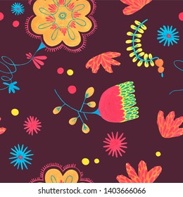 Minimal floral pattern. Seamless colorful flower pattern with herbal ornament elements on dark background. Flower Scandinavian style. Folk illustration for simple design.