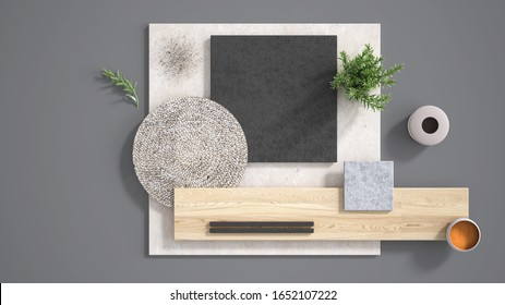 Minimal gray background with copy space, marble limestone and granite slabs, wooden plank, cutting board, rosemary and pepper and decors. Kitchen interior design concept, mood board, 3d illustration