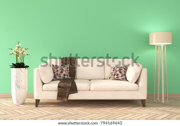 Minimal Green Living Room Interior White Stock Illustration 794169643