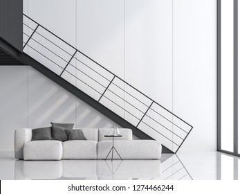Minimal high ceiling living room 3d render.There are white floor and wall, black steel stair and mezzanine.Finished with white sofa,The room has large windows. Natural light shines inside.