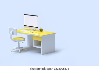 Minimal idea concept, computer mock-up on work desk yellow color with copy space for your text. 3d render.