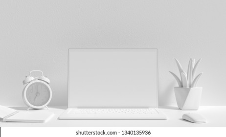 Minimal idea concept, Laptop background on Work desk white color and mock-up for your text with notebook mouse tree and clock. 3d render.