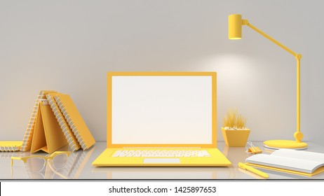 Minimal idea concept, Laptop mock-up on table work desk  yellow color with notebook and desk lamp. 3d render.