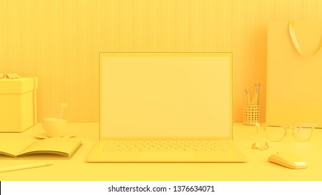 Minimal idea concept, Laptop on Work desk table yellow color with notebook, cup coffee, mouse, sunglasses and gift box. Mock-up for your text, 3d render.