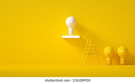 Minimal Idea Design Concept white bulb on yellow pastel background