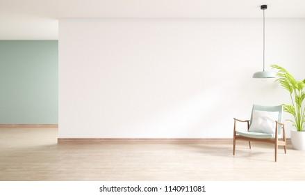 minimal  interior of living room, wood armchairs with plant on wood flooring,3d rendering ,3d rendering