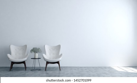 Minimal lounge and living room interior design and white wall background. 3D rendering
