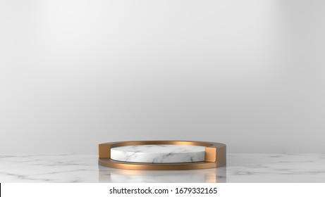 Minimal luxury white abstract design box and cylinder circle with gold pedestal podium in white Marble background. concept display stage platform showcase, product, sale, banner, cosmetic. 3D render