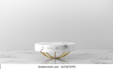 Minimal luxury white,  gold Marble Cylinder circle box podium and leaves in white background. concept display scene stage platform showcase, product, sale, banner, presentation, cosmetic. 3D render