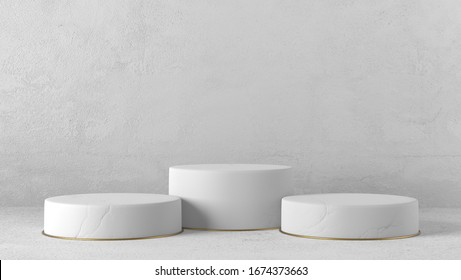 Minimal luxury white marble design and gold ring Cylinder circle box podium in white concrete wall background. concept display scene stage platform showcase, product, sale, banner, cosmetic. 3D render