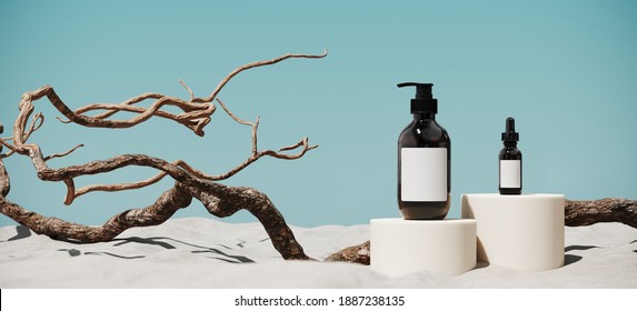 Minimal mockup background for product presentation. Cosmetic bottle, podium and dry twigs on white sand beach. 3d rendering illustration. Clipping path of each element included.