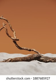 Minimal mockup background for product presentation. Dry tree twigs on white sand beach. 3d rendering illustration. Clipping path of each element included.