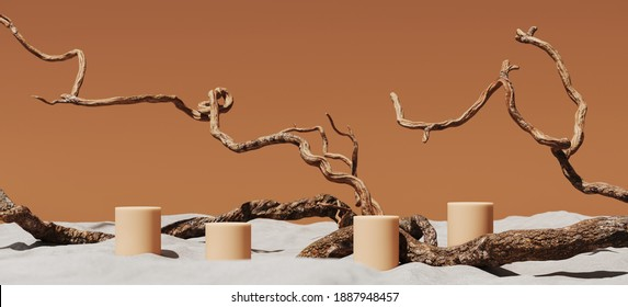 Minimal mockup background for product presentation. Podium and dry tree twigs on white sand beach. 3d rendering illustration. Clipping path of each element included.
