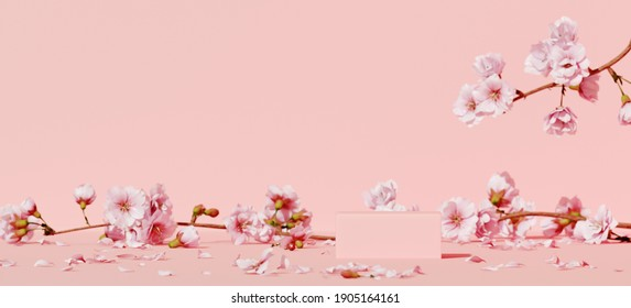 Minimal mockup background for product presentation. Pink podium and cherry blossom flower on pink background. Clipping path of each element included. 3d rendering illustration.