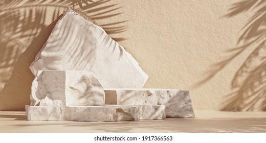 Modelación mínima con podio premium hecho de losas de piedra natural y sombras de hojas de palma en la pared marrón. Ilustración 3d.