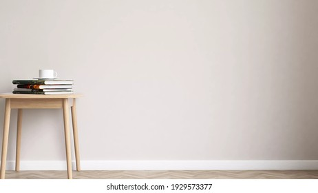 Minimal natural wooden coffee table with books and coffee cup set beside the empty wall in living room. Interior design 3D rendering for background or backdrop. Clean, Calm, Mood and tone, Concept.