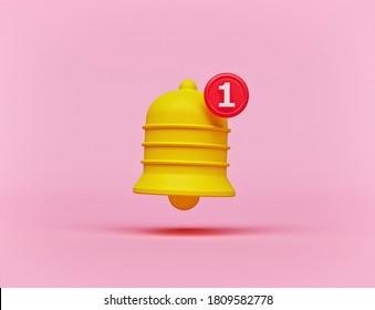 icône à la cloche de notification minimale isolée sur fond rose pastel. un nouveau concept de notification. Élément médias sociaux. Rendu 3d