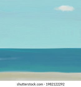 Minimal oil painting of quiet ocean. Sky background with one cloud. Blue calm water with copy space.