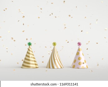 Minimal party concept. Party hat and gold confetti on white. 3d rendering.