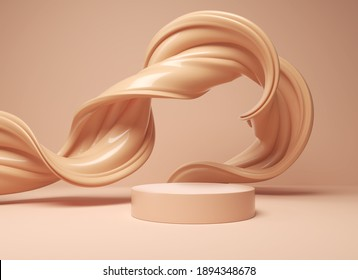 minimal pedestal podium display with brown foundation cream, stage showcase for beauty and cosmetics product, 3d illustration.