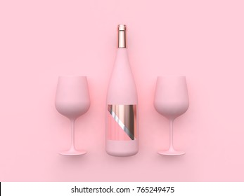 minimal pink background wine glass wine bottle 3d rendering