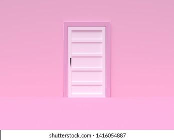 minimal pink scene wall floor abstract door 3d rendering