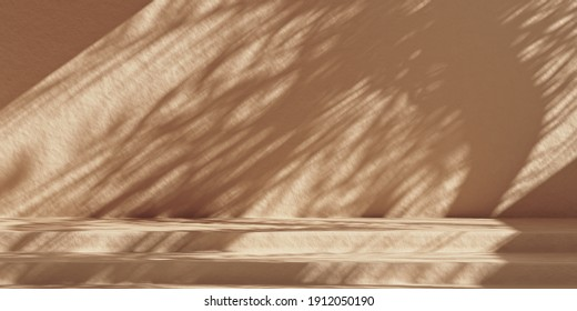Minimal product mockup background with beige wall and sunshade shadows. Brown stone cosmetics product podium. 3d rendering illustration.