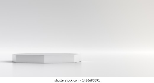 Minimal product stand on background. Podium for presentations in white studio. 3D render.
