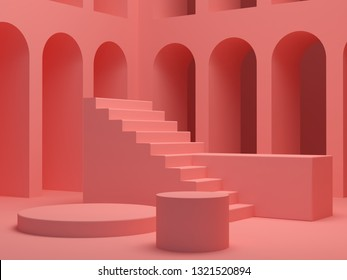Minimal Scene with arches and empty podium all in coral color. Scene with geometrical forms, coral pink arches background, platform and stairs with and others cylindrical podiums. 3D render
