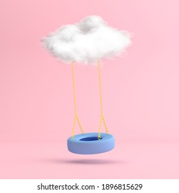 Minimal scene of floating blue swing tire with the white cloud. 3D rendering