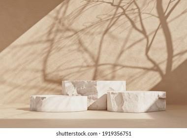 Escena mínima en el podio de un producto de piedra con espacio de copia para banners de medios sociales, promociones, exhibiciones de productos cosméticos. Espectáculo 3d de color crema pastel y beige.